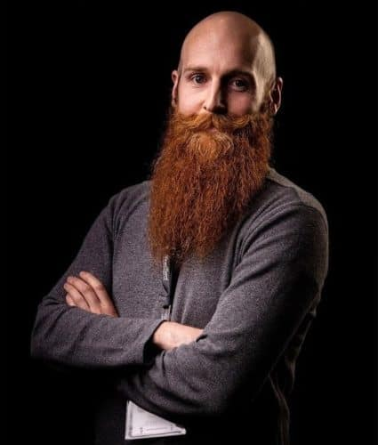 Bald and long ginger beard style
