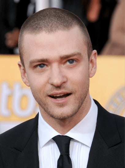 Justin Timberlake with buzzed hairstyle