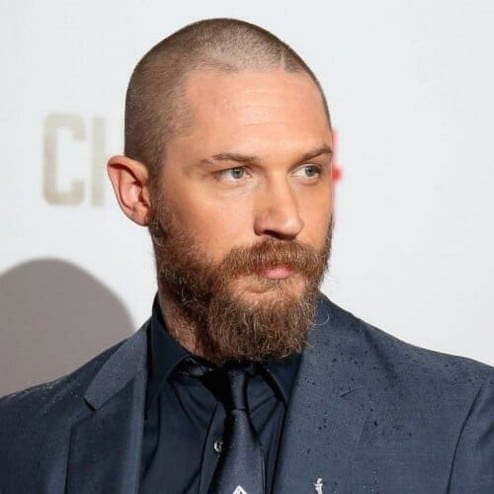Tom Hardy Military Hairstyle and Full Beard.