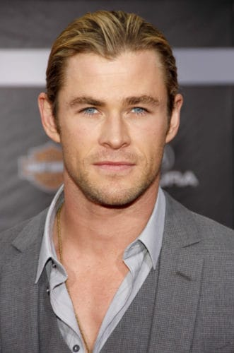 Chris Hemsworth Great Celebrity Hair with an M-hairline.