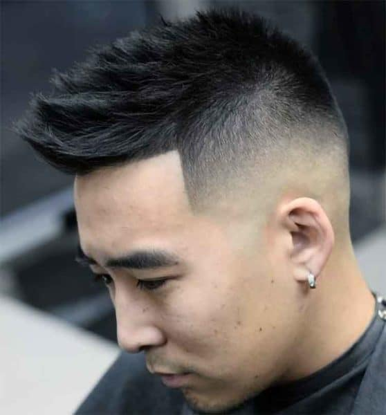 Asian Faux Hawk with cool skin fade.