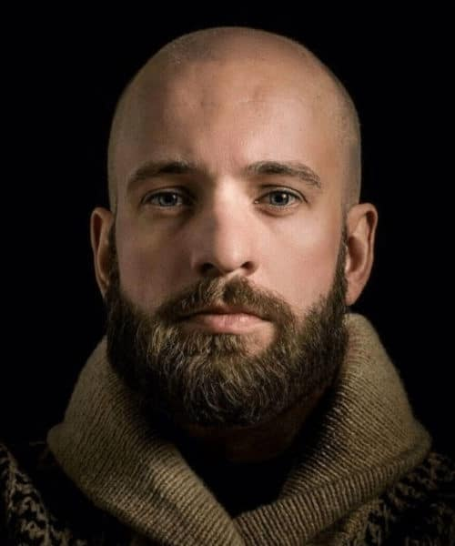 Boxed beard styles look great with a bald head