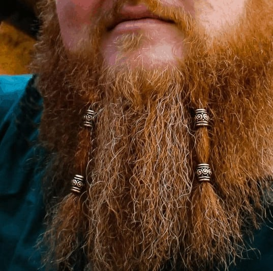 Viking beard with braids and bead jewelry