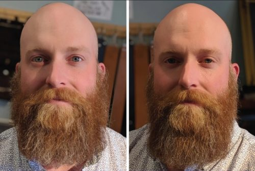 Before and After Straightened Beard
