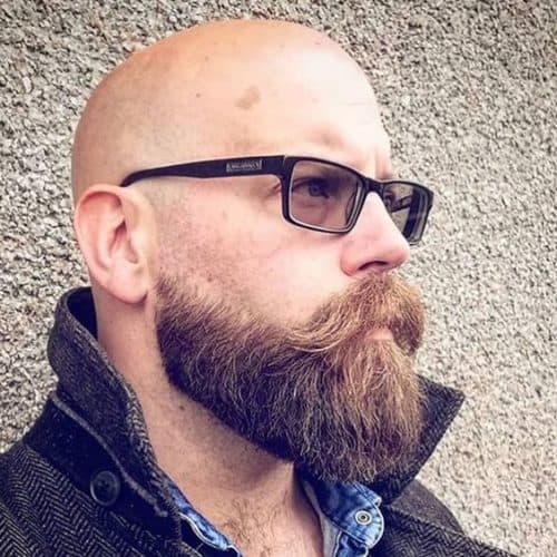 Super cool Rectangle Black Frames balance the bald look