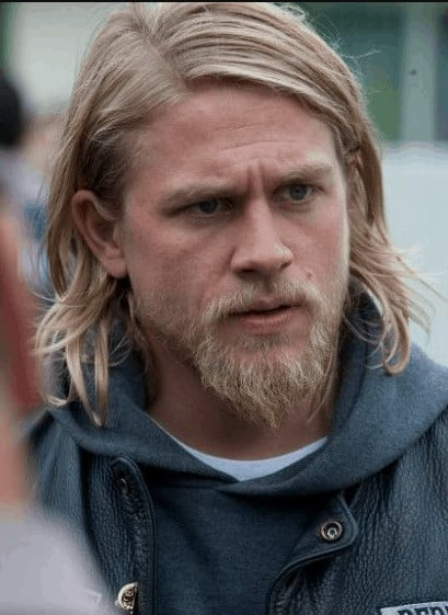 Charlie Hunnam's blonde mustache plus goatee style.
