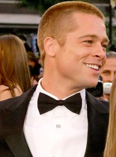 Brad Pitt buzz cut and clean shaven