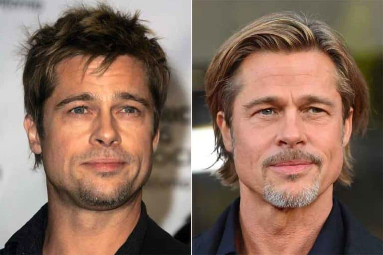 Brad Pitt before and after mature hairline