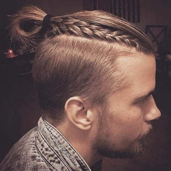 Viking braids that's pulled back and secured.