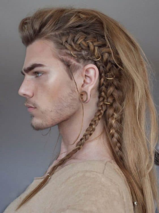 Viking braided hairstyle with a long undercut.