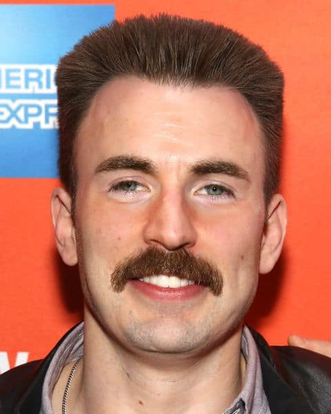 Chris Evans bad 70s mustache