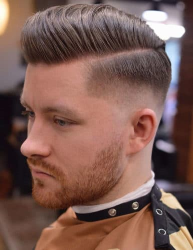 Comb Over Pompadour with Taper Fade