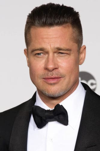 Brad Pitt Crew Cut and short mustache and chin beard