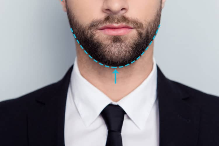 Find your neck's beard line