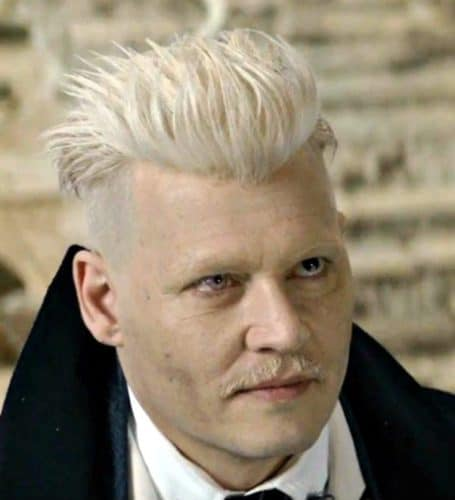 Grindelwald Blonde Hairstyle and matching blonde mustache.