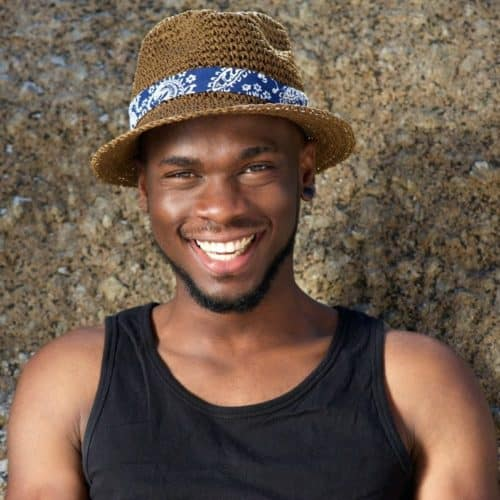 Young African American man with chin strap beard