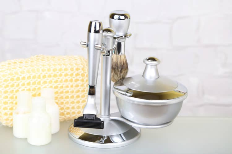 A full shaving kit often contains aftershave and a good way to encourage use it afterwards.