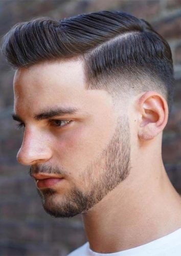 Ivy league side part haircut