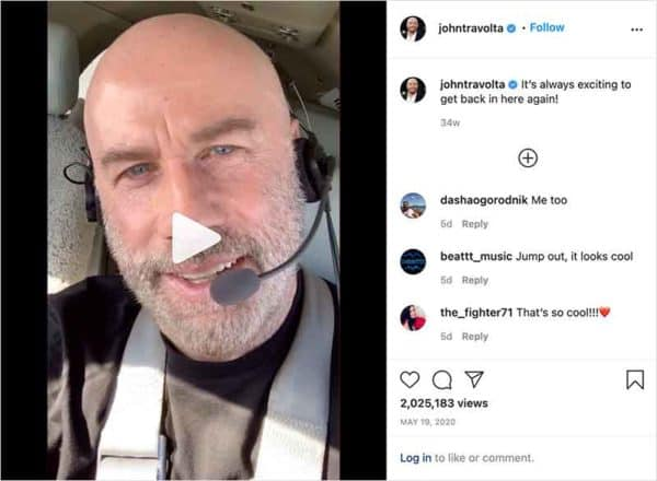 John Travolta flying in airplane - posted on Instagram