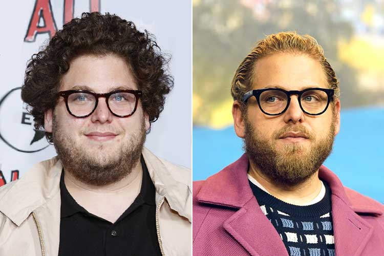 Jonah Hill before and after shaving his neck beard