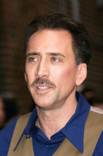 Nicolas Cage showing no hair recession.