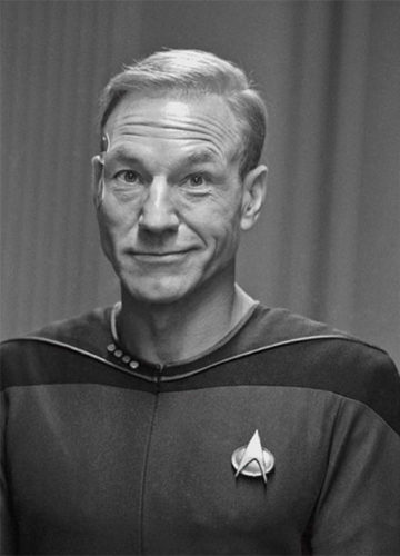 Patrick Stewart as Captain Picard with Hair