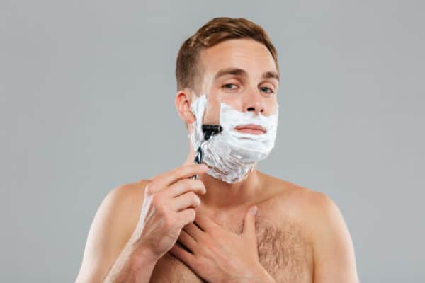 A poor shaving routine may be causing pimples.