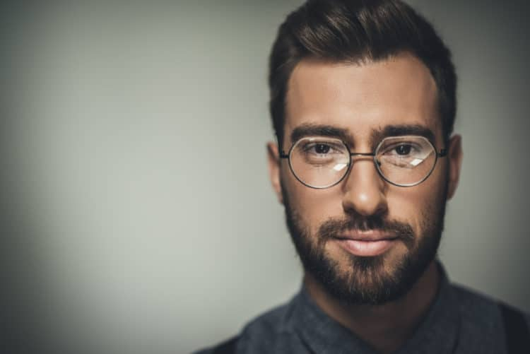 A beard plus Round or Curved Frames glasses look great on rectangular faces