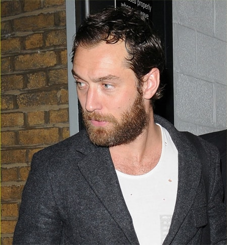 Jude Law Sideburns, short beard and full hairline.