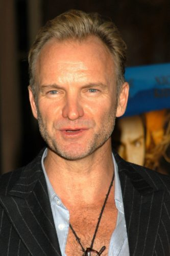 Sting's showing his M-shaped receding hairline with longer hair.