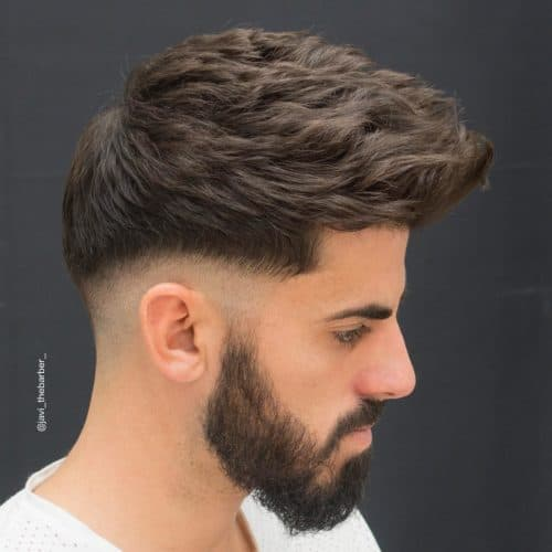 textured haircut with taper