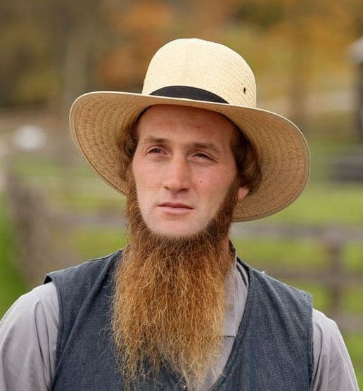 Longer chin strap style grown into a traditional Amish Beard.