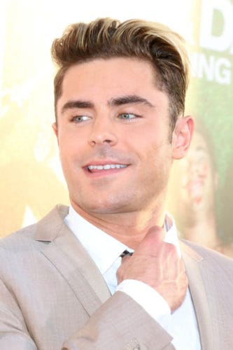 Zac Efron long hair crew cut.